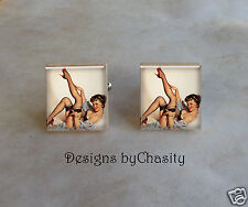 Pinup Scrabble Cuff Links Red Sexy Girl Altered Art Charms Brunette Bombshell