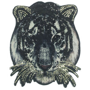 tiger large size tiger sequins embroidery iron//sew on patch applique badge FO