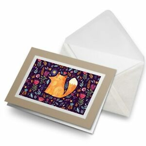 Greetings-Card-Biege-Ginger-Fox-Forest-Flowers-Art-15571