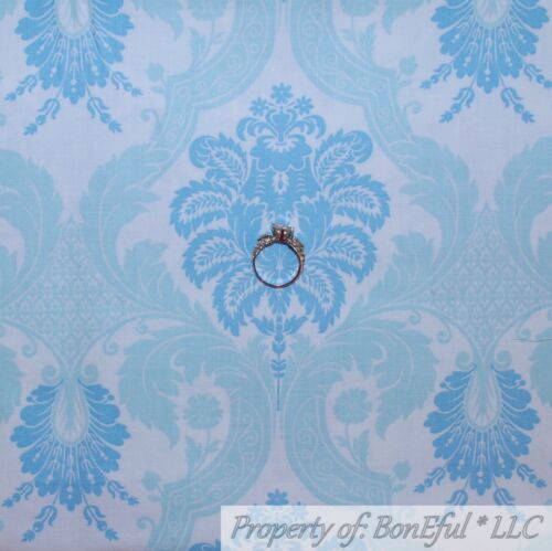 BonEful FABRIC FQ Cotton Quilt Blue Gold Metallic Heart Antique Ticking Stripe S