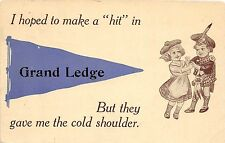 <A2> Michigan Mi PENNANT Postcard c1910 GRAND LEDGE Hope To Make A HIT