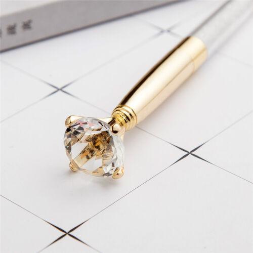 Metallic Crystal Pen Big Diamond Ballpoint Pen Stationery Office School Pen Gift