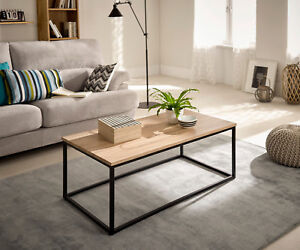 Hogar24-Mesa de centro salón comedor madera y metal estilo ...