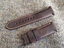 Genuine Officine Panerai Leather strap band 24mm Dark Brown Deployment buckle