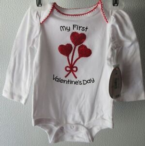 3-6M Bodysuit MY 1ST VALENTINE/'S DAY Long Sleeve White NWT Baby 0-3