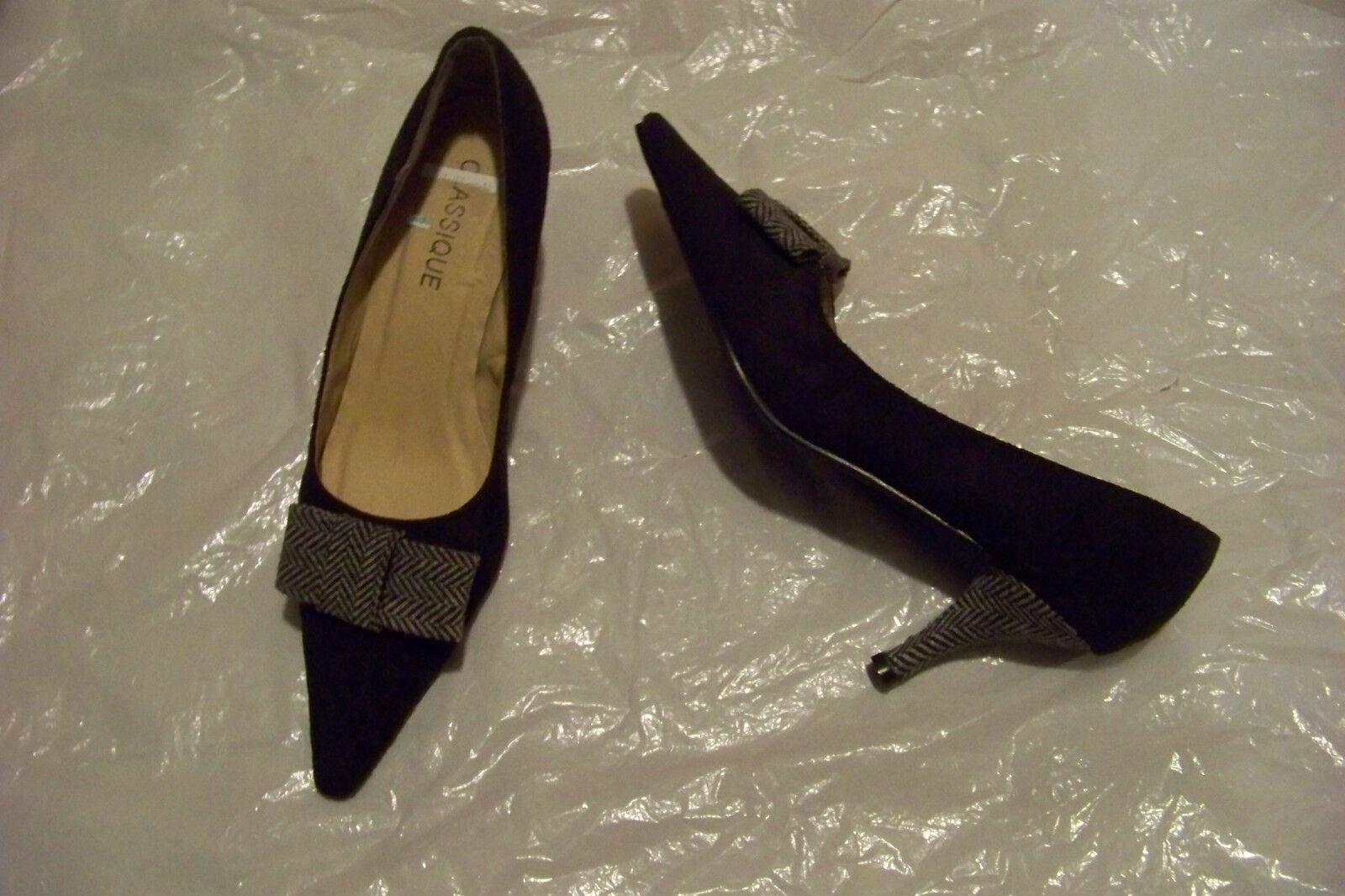 womens classique black shoes fabric bow heels shoes black size 7 b8ed15