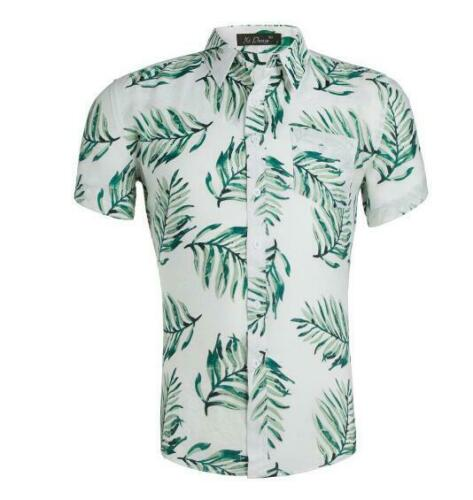 Men/'s Cotton Hawaiian Shirt Floral Print Casual Short Sleeves Aloha Beach Shirt