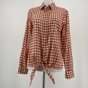 J-Crew-Womens-Top-Long-Sleeve-Tie-Front-Gingham-Plaid-Button-Up-Rust-Size-8
