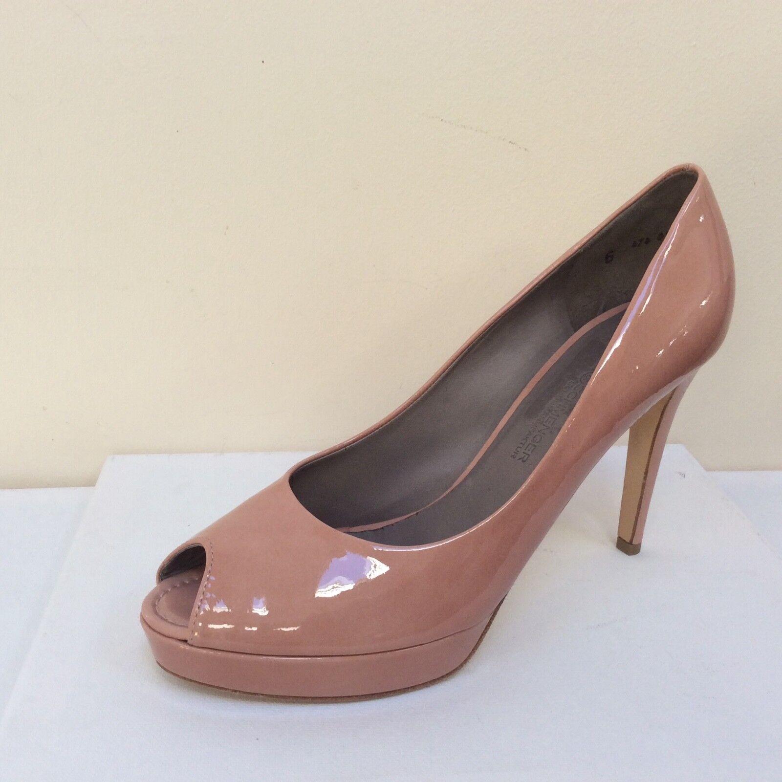 K&S Gia pink patent peep toe platform courts, UK 8 EU 41,   BNWB