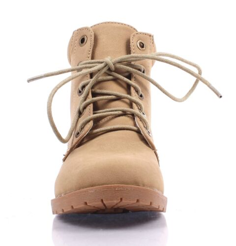 CAMEL MILITARY COMBAT STYLE GIRLS LACE UP KIDS ANKLE BOOTS YOUTH SIZE BLACK