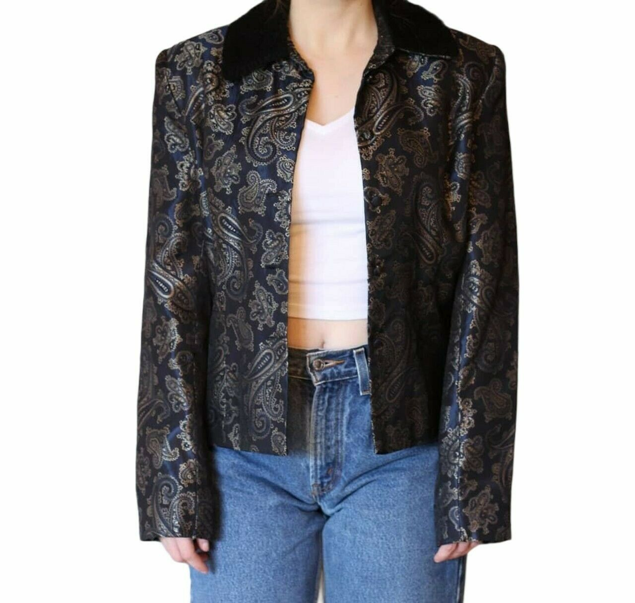 Vintage Y2K McClintock Gold Paisley Brocade NavyBlazer Jacket Faux Fur Collar