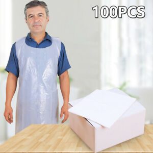 Pack-of-100-DISPOSABLE-PLAIN-WHITE-POLYTHENE-STRONG-PLASTIC-APRONS-BID-FLAT-PACK