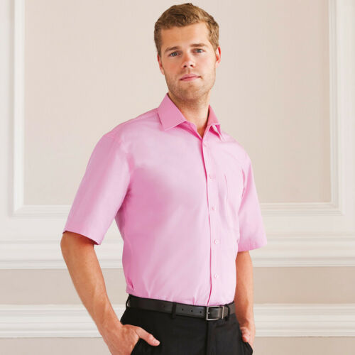 Russell Collection Men/'s Short Sleeve Cotton Easy Care Poplin Smart Work Shirt