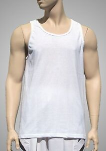 Tank-Top-Plain-White-Light-Weight-Poly-Cotton-by-Augusta-Men-039-s-2XL