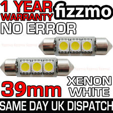 2x 39mm NUMBER PLATE INTERIOR 6000k BRIGHT WHITE 3 SMD LED C5W FESTOON BULB L@@K