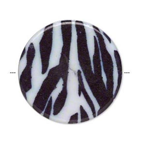 UK boutique  * 6438 Acrylique Plat Rond Disque Perles PK6 32 mm Zebra