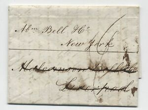 1836 Dublin stampless to New York via Liverpool [H.375]