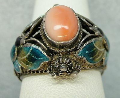 ART DECO Angel Skin Coral RING Sz 6.5 Chinese Export Enamel Butterfly Filigree