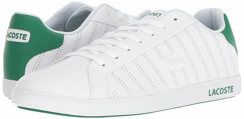 Lacoste Hombre Zapatillas de posgrado, blancoo verde de Cuero