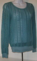 Atmosphere Green Crochet 8 S Xs Crewneck Sweater Top Shirt