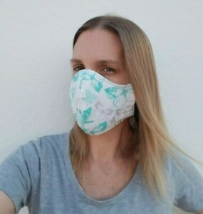 White Gray And Teal Butterfly Print Three Layer Washable Face Mask Ebay