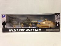Military Mission Play Set, 1:55 Ah-64 Apache Helicopter, Tank, Soldiers,new Ray