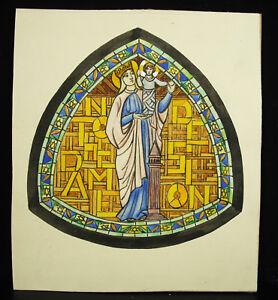 Congrégation De Notre-dame De Sion Dessin Original à L'aquarelle C1928 Vitrail