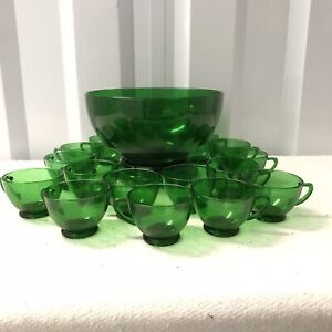 Vintage Anchor Hocking Forest Green Glass Complete Punch Bowl Set Base & 15 Cups