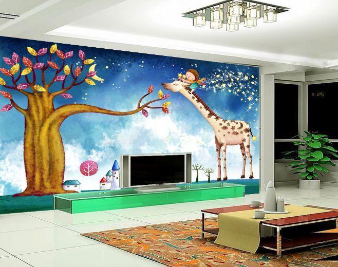 3D Giraffe und Baum 6377 Fototapeten Wandbild Fototapete BildTapete Familie DE