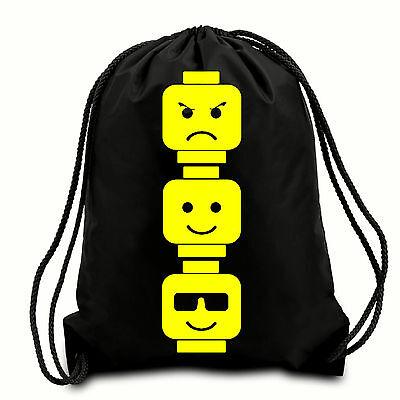 LEGO HEADS  DRAWSTRING PE BAG GYM BAG WATER RESISTANT SCHOOL BAG
