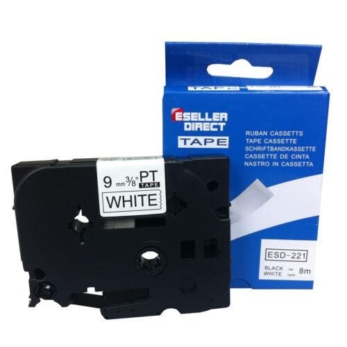 PT-1130 Brother Compatible TZ221 P-Touch PT-1120 PT-1160 9mm Black//White Tape