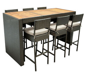 barset 7 teilig bartisch stehtisch barhocker barstuhl set cortina rattan braun ebay. Black Bedroom Furniture Sets. Home Design Ideas