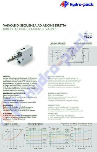 """Secuencia de presión válvula zuschaltventil regla válvula vs2c 3//8/"""" v0640"""