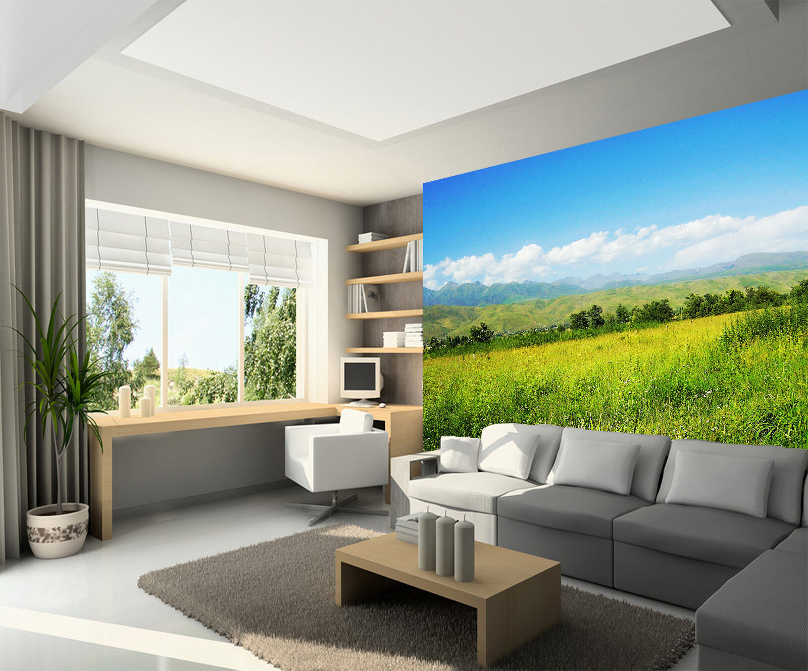 3D Grass sky scenery 3272 Paper Wall Print Decal Wall Wall Mural AJ WALLPAPER GB