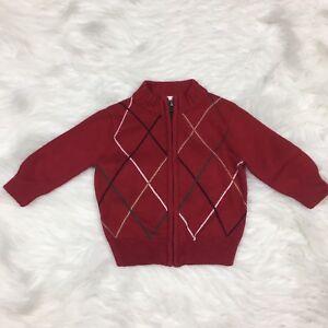 Gymboree-Baby-Boys-Cardigan-Sweater-Size-6-12-Months-Zipper-Christmas-Red-Argyle