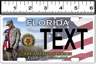 CUSTOM PERSONALIZED ALUMINUM STATE LICENSE PLATE-FLORIDA AMERICAN LEGION