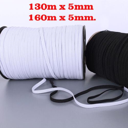 Gummiband Elastikband Gummilitze Wäschegummi  Gummi Schwarz Weiß 130m,160m x5mm