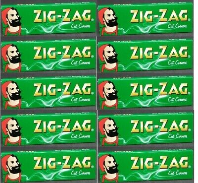 25 Packs Zig Zag Green Cut Corners Rolling Papers Only.64//Pack Fast USA Shipped