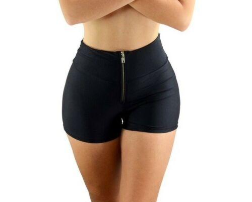Made in USA FAST SHIPPING! Black Solid High Waist Short with Zipper CH Rave