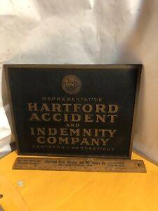 "Vintage Hartford Accident & Indemnity Company Plastic PLAQUE Sign 13"""