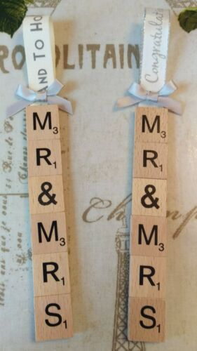 Present Personalised Wedding Gift Tag Scrabble Letters Anniversary gift tag