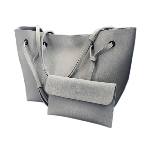 2Pcs New Women Faux Leather Solid Color Tote Shoulder Bag Handbag Fashion