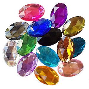 Large-20x30mm-FLATBACK-Oval-Acrylic-Crystal-Rhinestone-Embellishment-Gem-Jewels