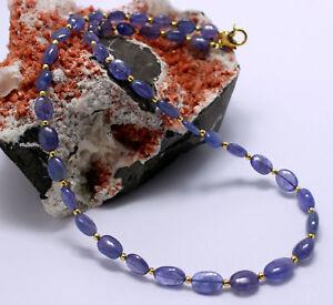 Tansanit-kette-Edelsteinkette-Blau-Oval-Collier-925-Silber-vergoldet-Edel-46-cm