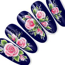 Nail Art Uñas Largas Agua calcomanías transferencias pegatinas Oriental Rosa sl025a Plata