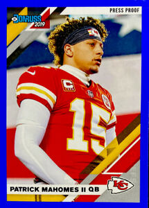 2019-Panini-Donruss-Patrick-Mahomes-BLUE-Press-Proof-Photo-Image-Variation