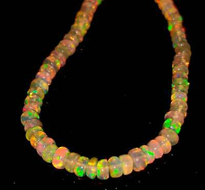 22 TCW 2-3.5 mm Beads 925 sterling silver with Genuine Ethiopian opal Necklace  Opal Beads Necklace  Ethiopian Opal Beads  Opal Beads
