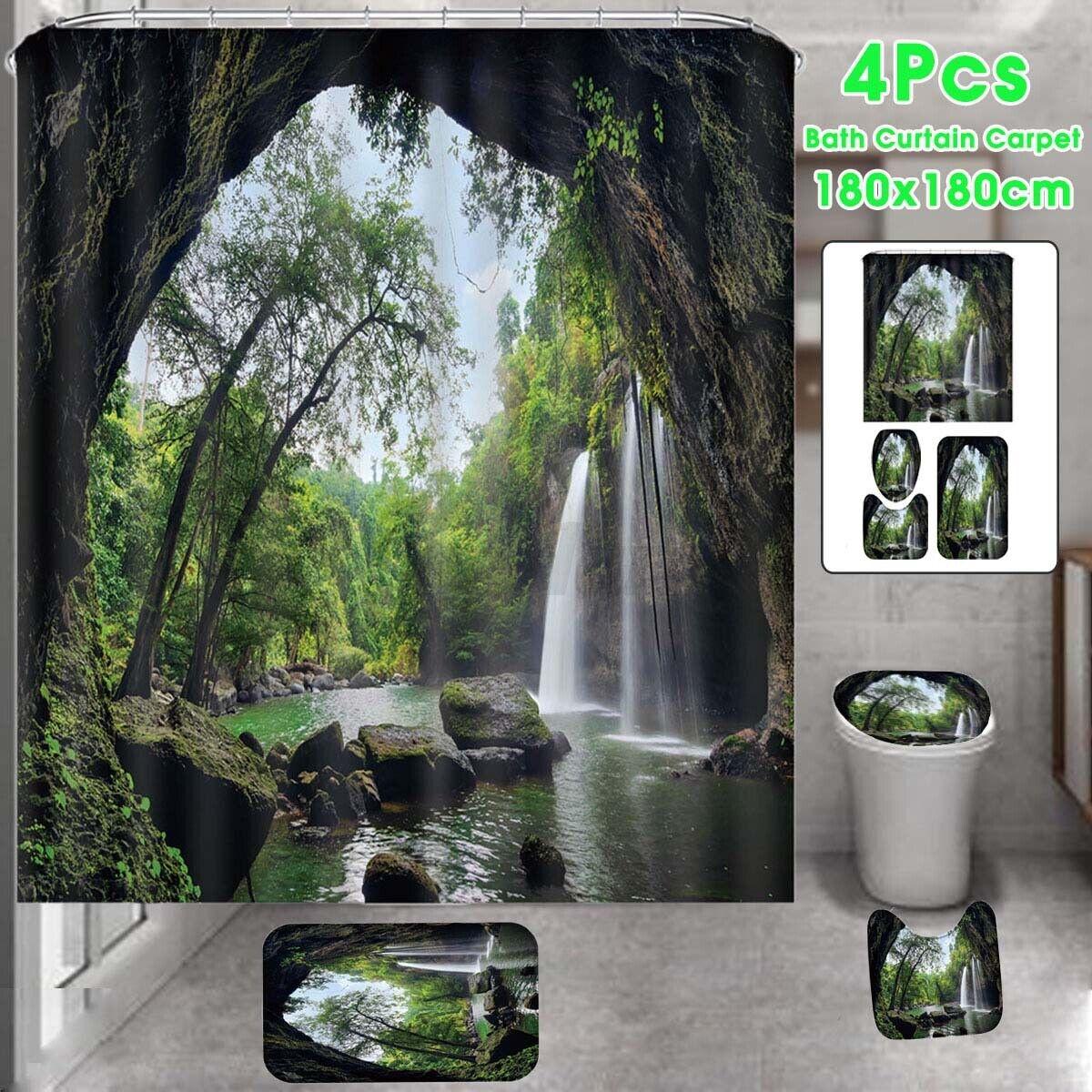 Waterfall Bathroom Shower Curtain Carpet Rug Bath Mat Toilet Cover