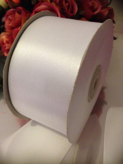 50 mm Single Faced Satin Ribbon 2 metres White Ivory Wedding Car Ribbon