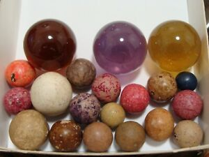 20-Fun-Vintage-Marbles-Clay-amp-Beautiful-Gem-Shooters-Purple-Yellow-Brown-Nice